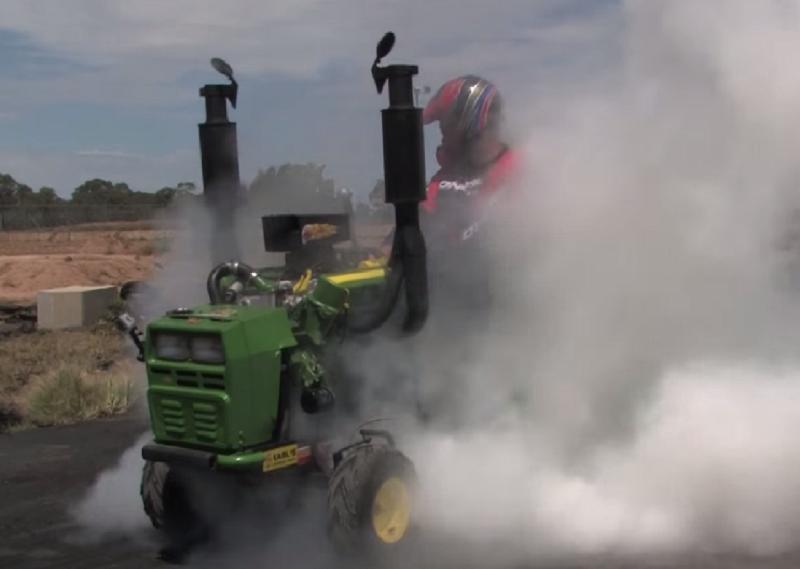 v8 lawn mower doing burnouts
