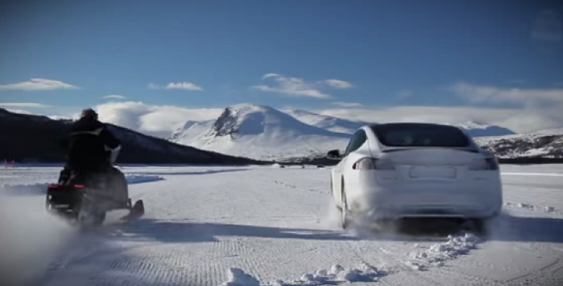 tesla vs snowmobile