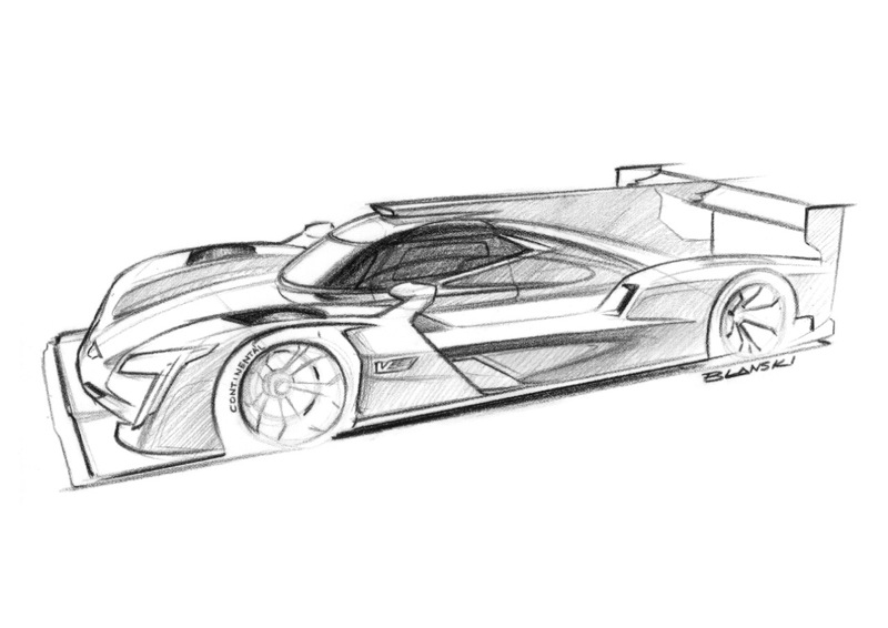 A sketch of the all-new Cadillac DPi-V.R race car from Cadillac designer Dillon Blanski. The design details giving the DPi-V.R car its distinctive Cadillac' appearance and presence include the vertical lighting signature; the sheer, sculptural quality of the body and bold bodyside feature line, V-Performance wheels with Brembo brakes, V-Performance emblems and a canopy graphic inspired by the Cadillac daylight opening.